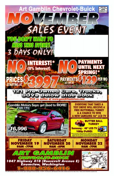 Art Gamblin Motors November Mailer