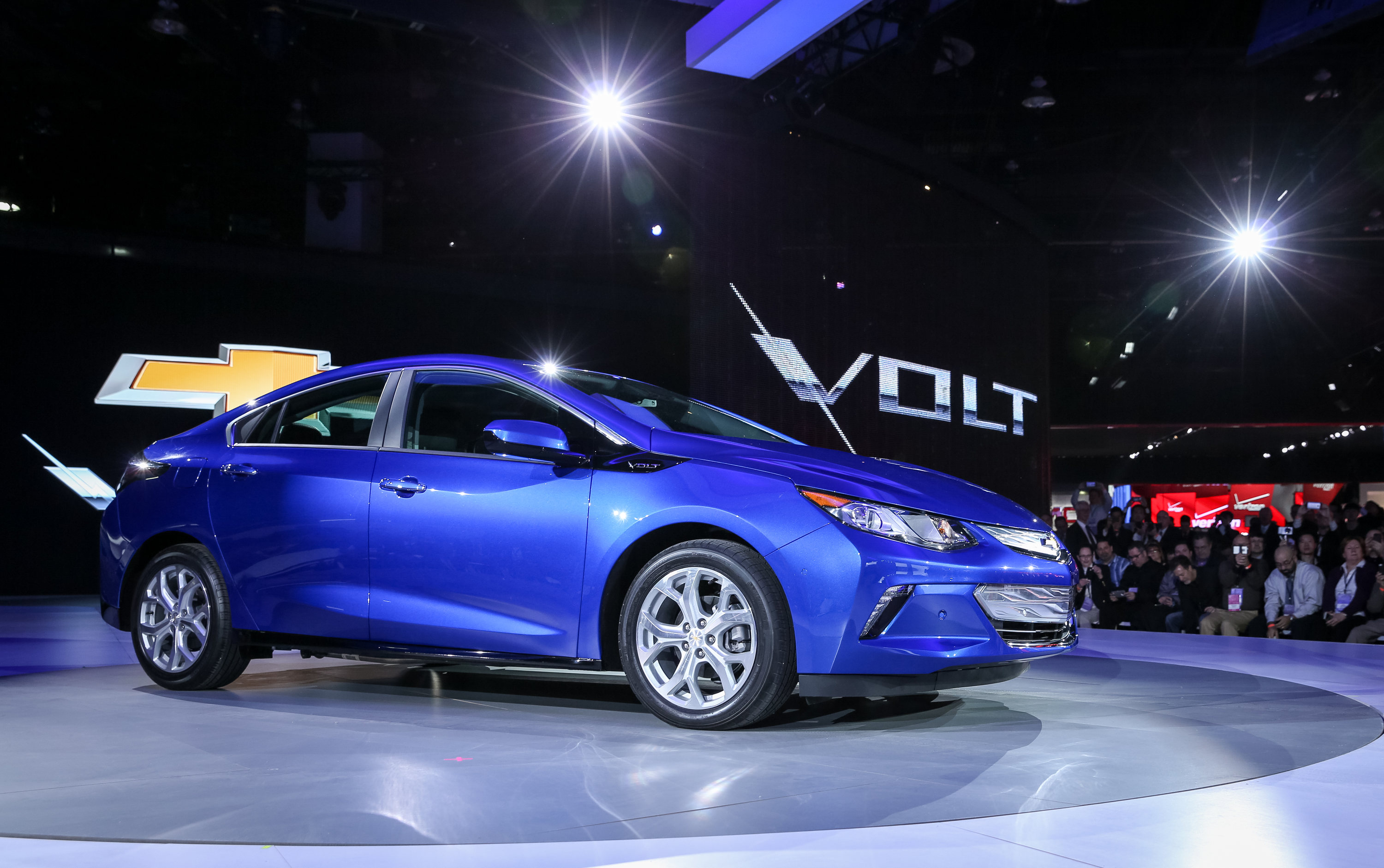 The 2016 Chevrolet Volt electric car with extended range is unveiled Monday, January 12, 2015 at the North American International Auto Show in Detroit, Michigan. The next-generation Volt has a sleeker, sportier design that offers 50 miles of EV range, greater efficiency and stronger acceleration. (Photo by John F. Martin for Chevrolet)